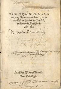 La primera página de la primera edición de Romeo y Julieta, 1597.